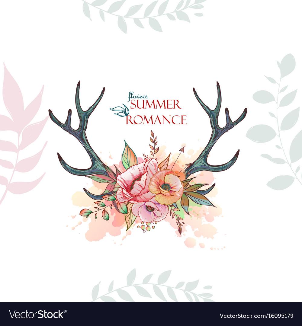 Summer romace deer vector image