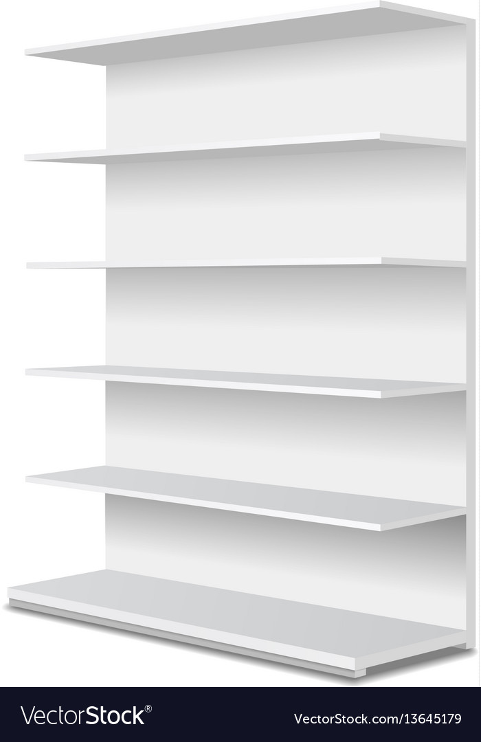 White empty showcase displays with r shelves