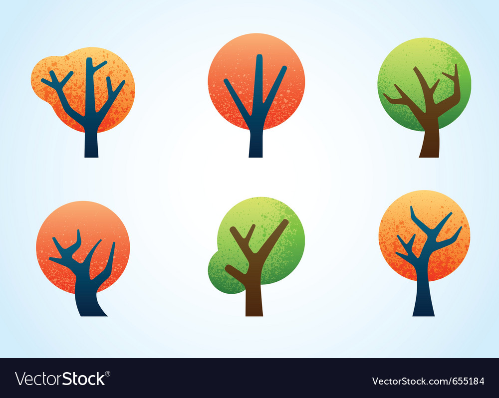 Abstract illustrated trees vector image