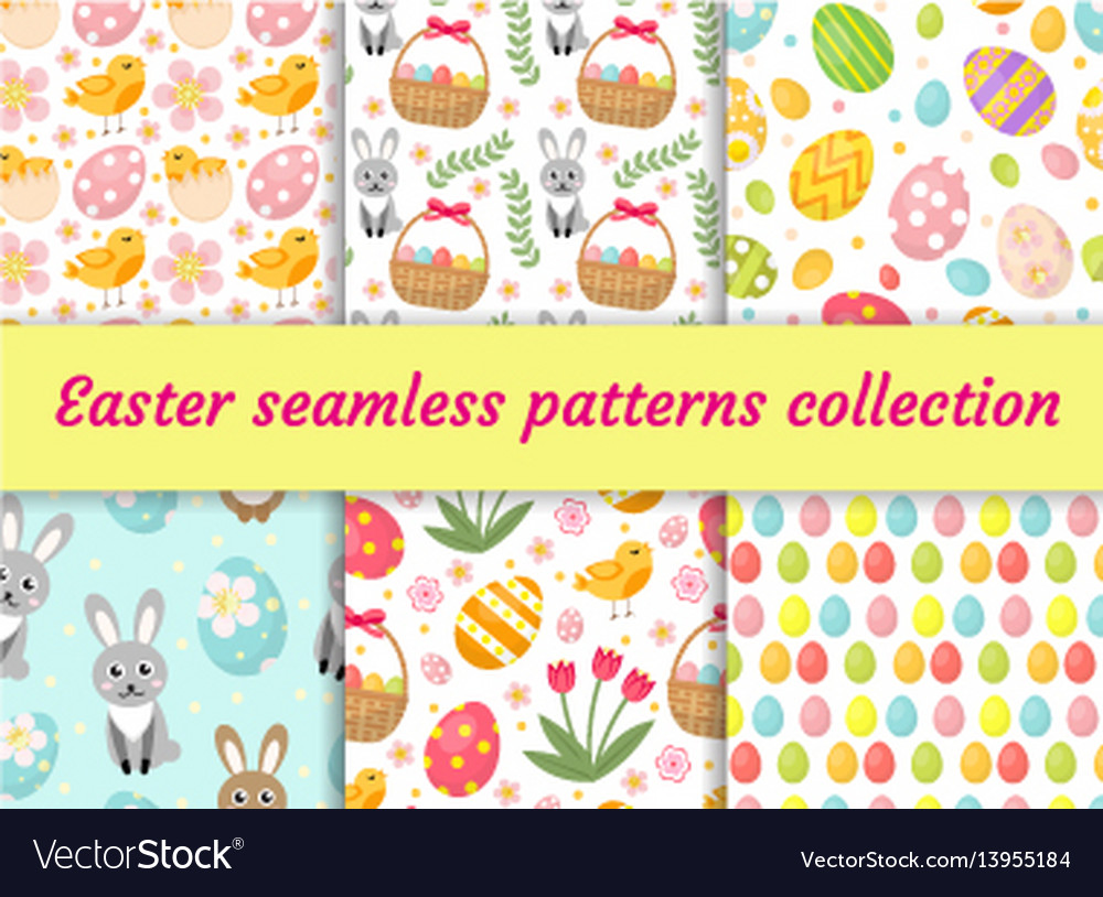 Cute easter seamless pattern collection with birds