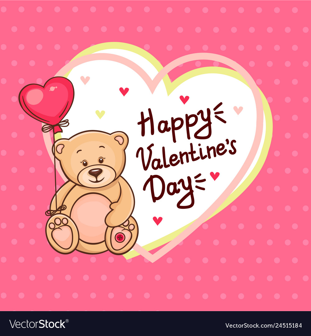Cute valentine teddy bear with big heart