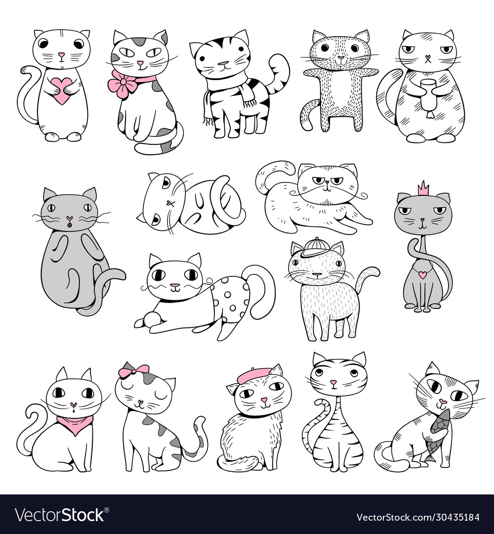 Funny cats doodle pets hand drawn characters