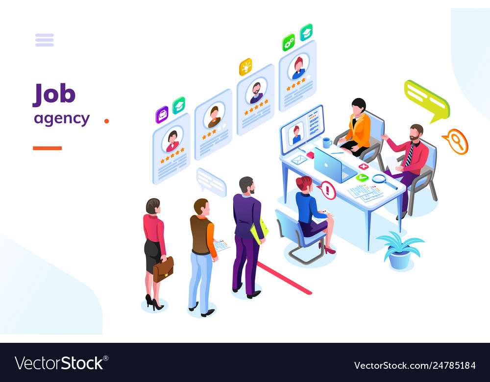 Job or hiring recruitment agency isometric view
