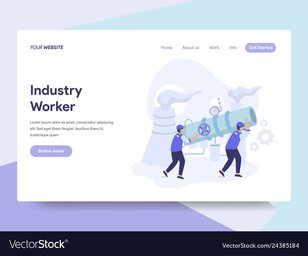 Landing page template of industrial worker