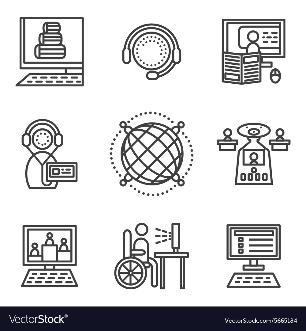Online education simple icons set