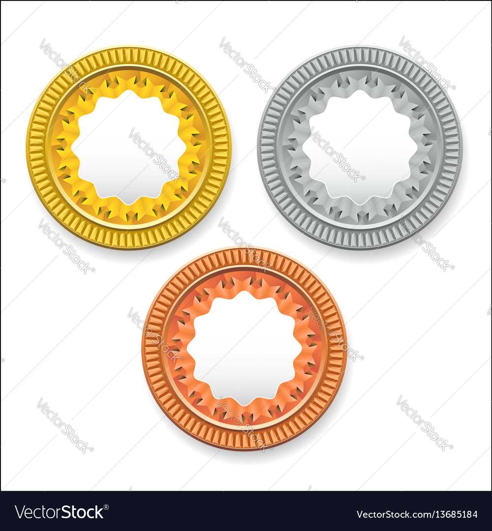 Round empty medals of gold silver bronze