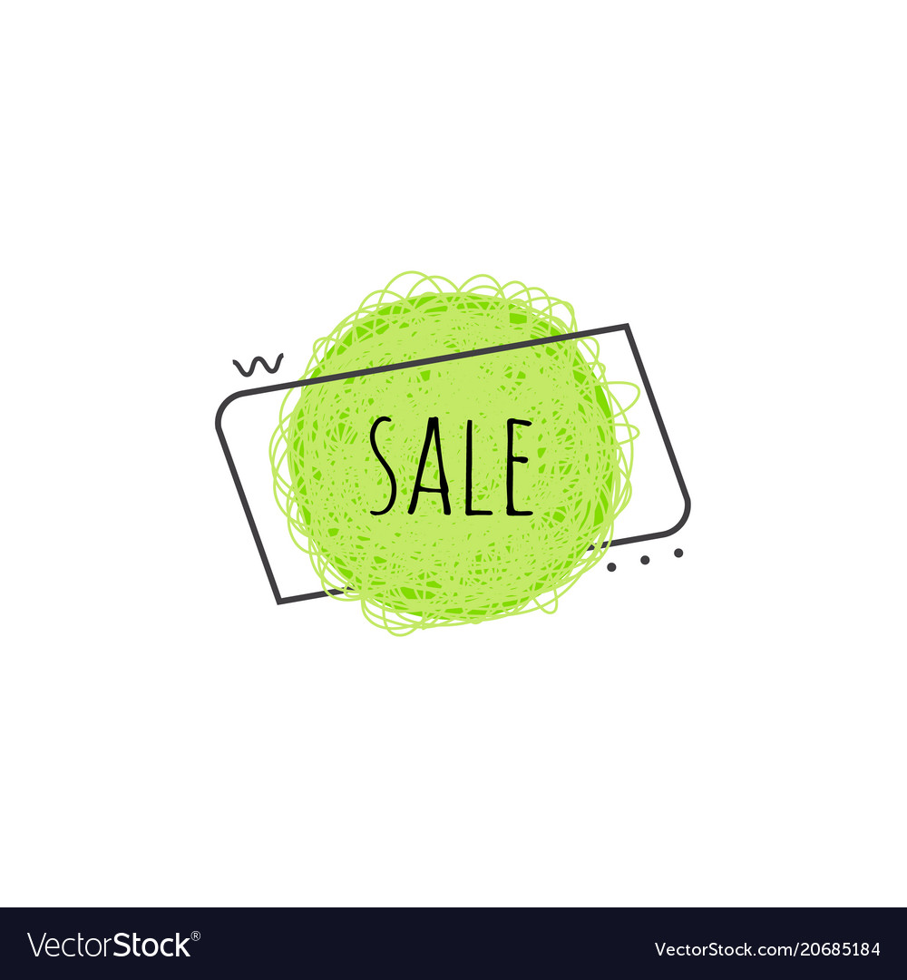 Sale grunge scratched banner - lime green round