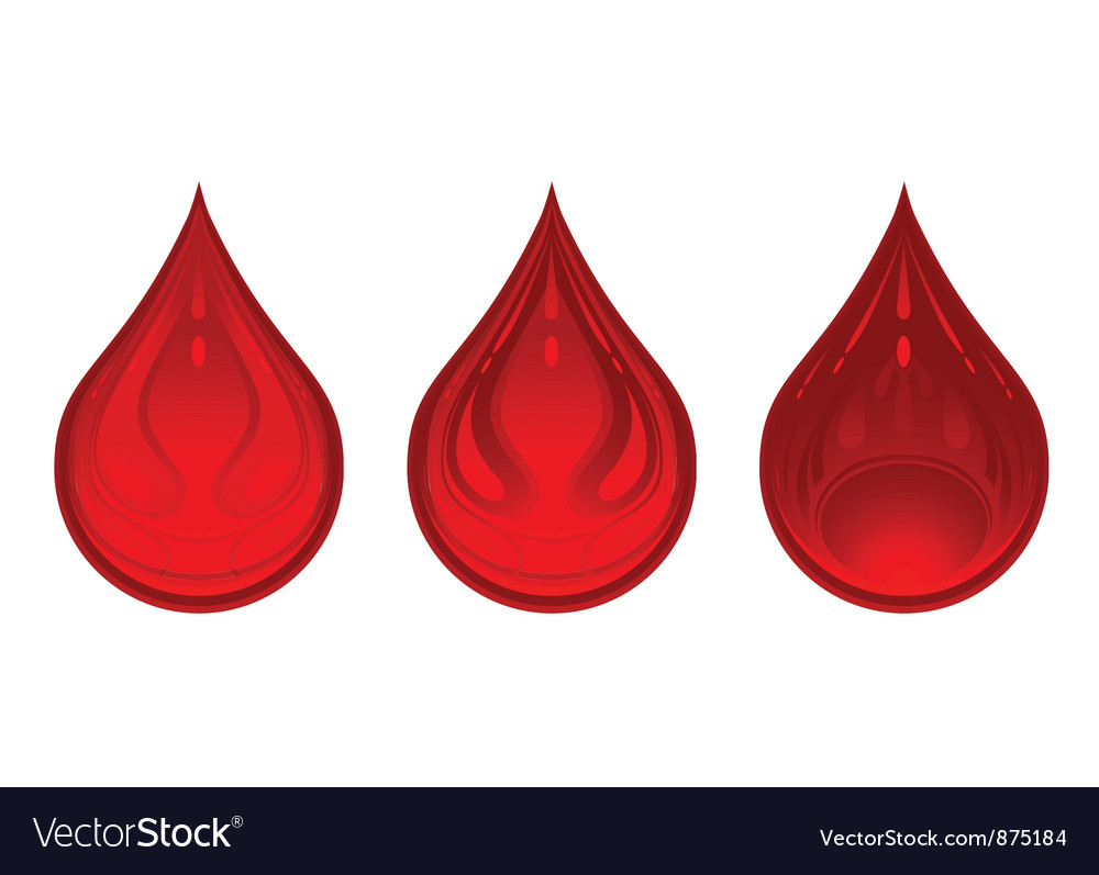 Three drops of blood red color vector image