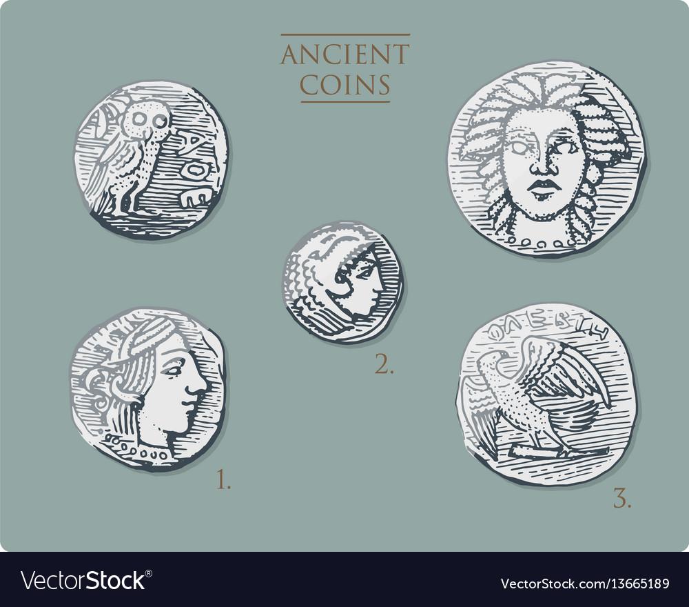 Ancient greece antique symbols silver coins tetra