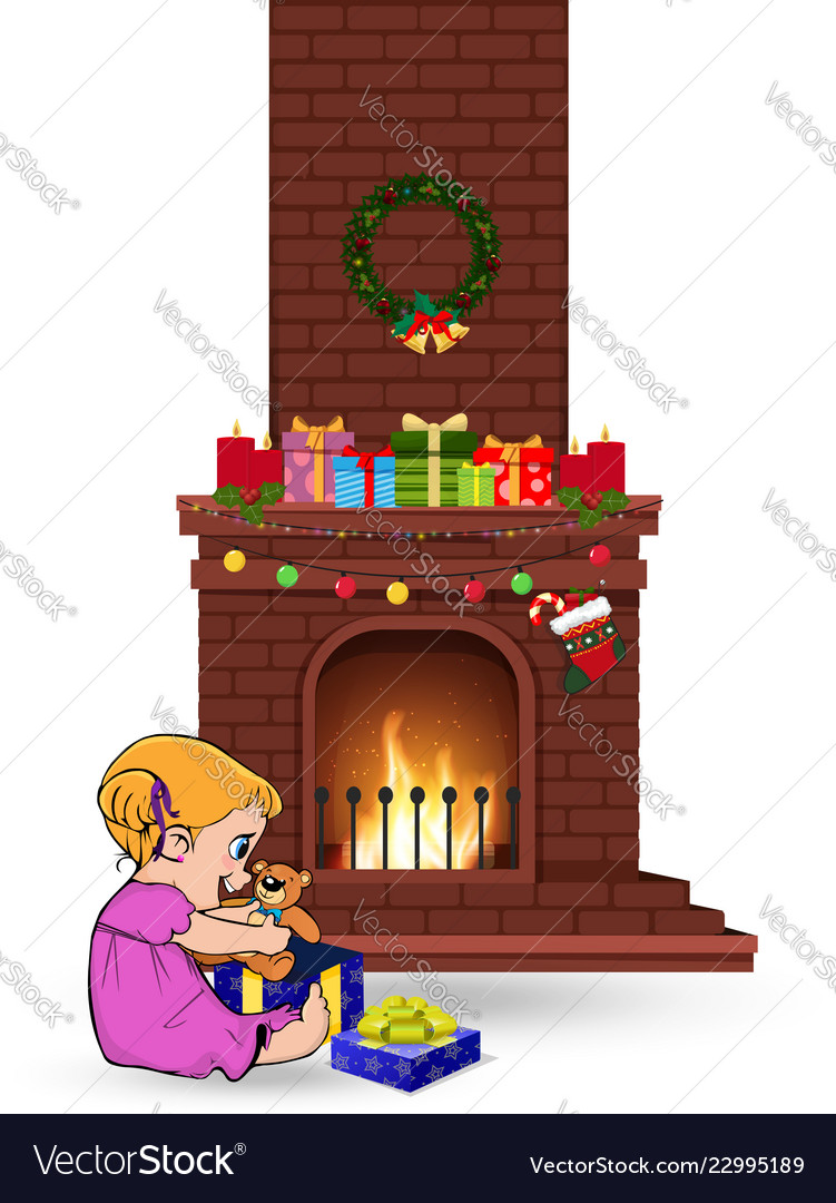 Baby girl open gift near decorated christmas fire