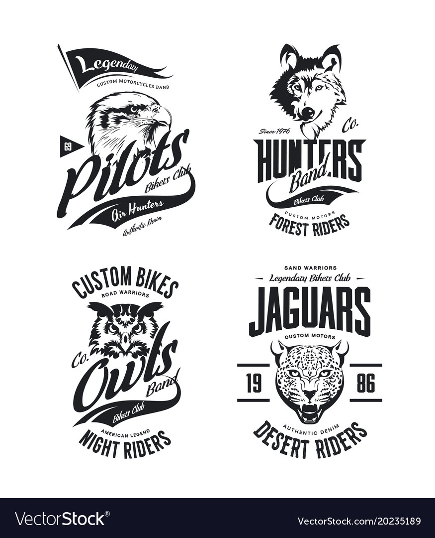Bikers club t-shirt isolated logo set