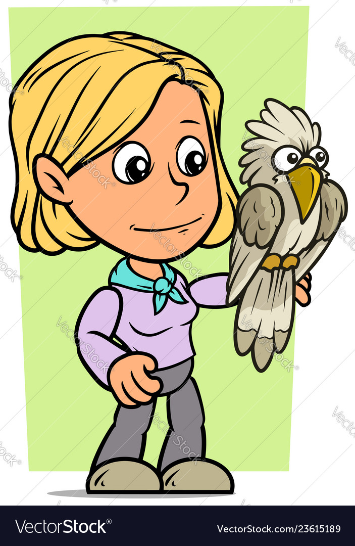 Cartoon girl character with funny parrot
