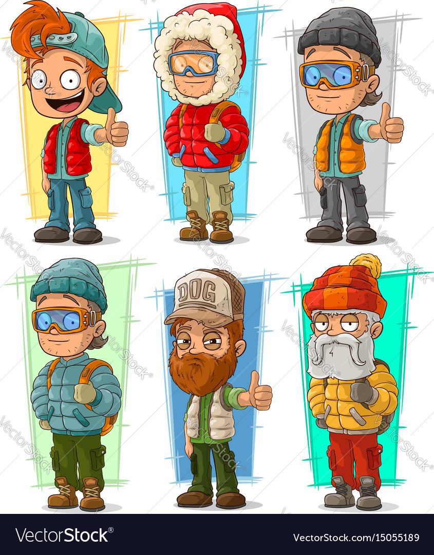 Cartoon tourist traveler characters set vector image