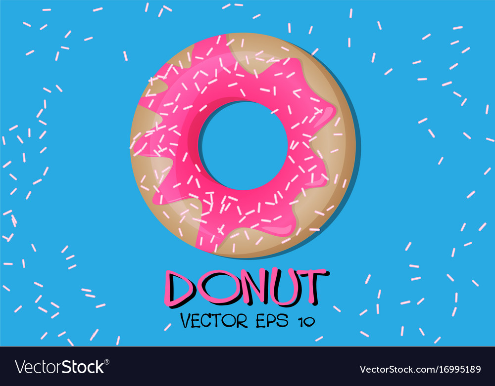 Donut pink glaze on blue