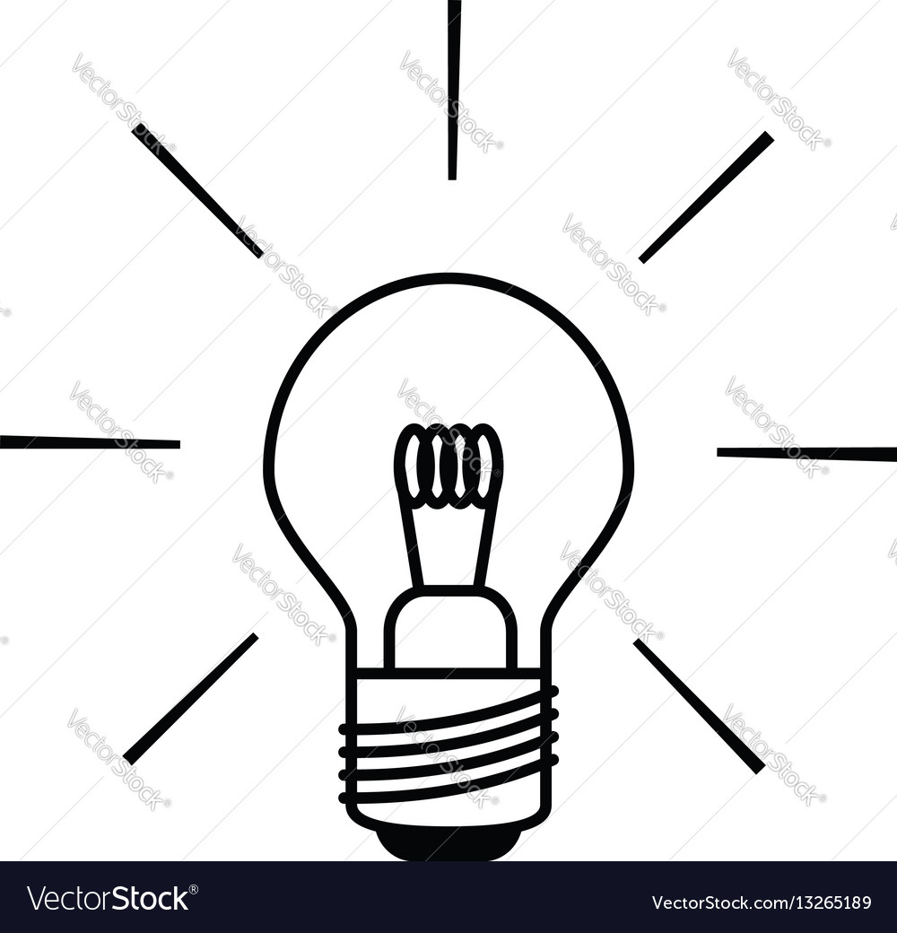 Light Bulb Icon In Black And White Outlines Vector Image
