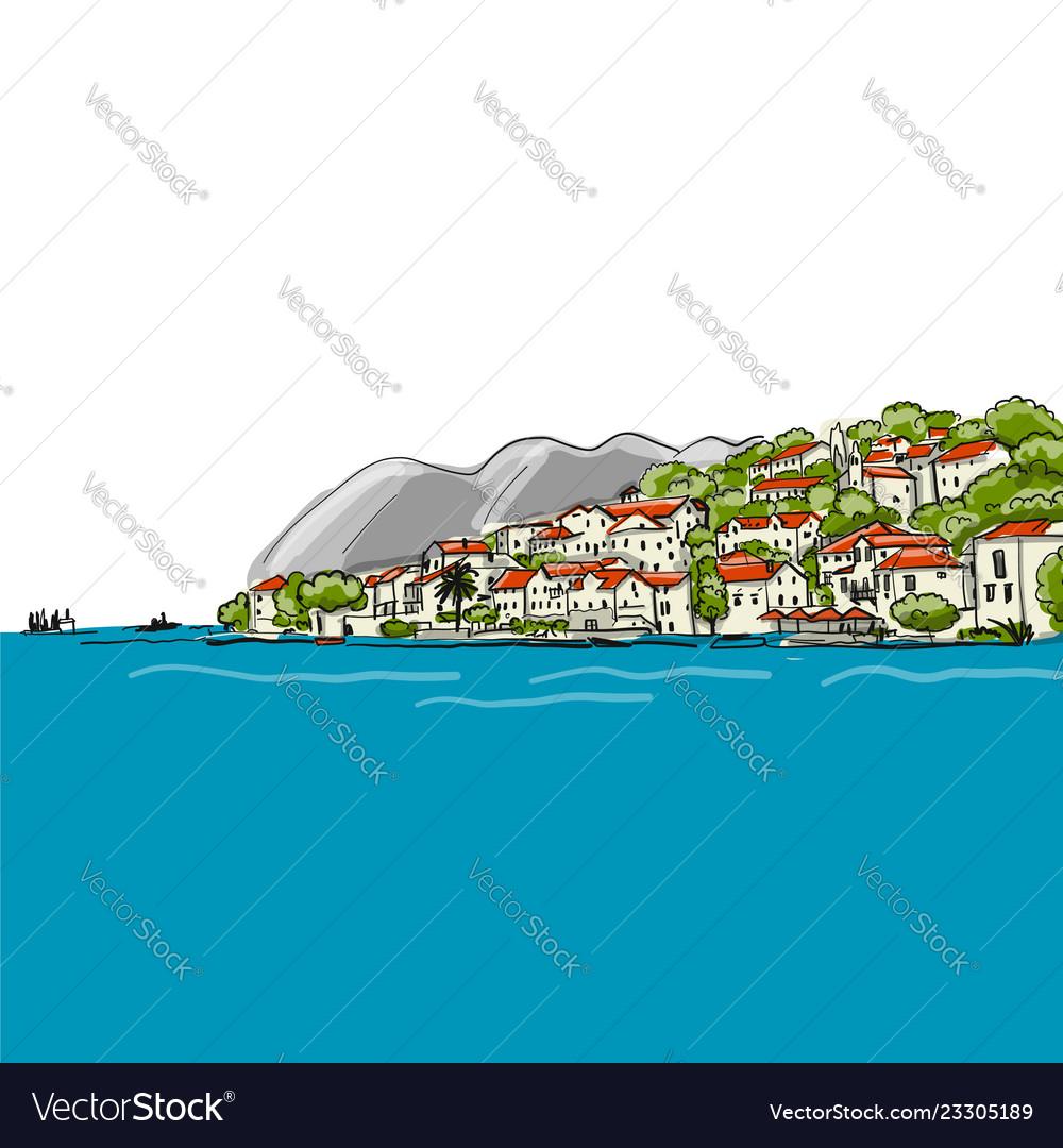 Old european city mediterranean sea sketch for