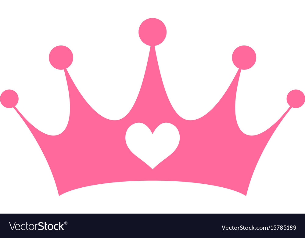 pink girly princess royalty crown with heart vector image king crown symbol text king crown symbol copy and paste