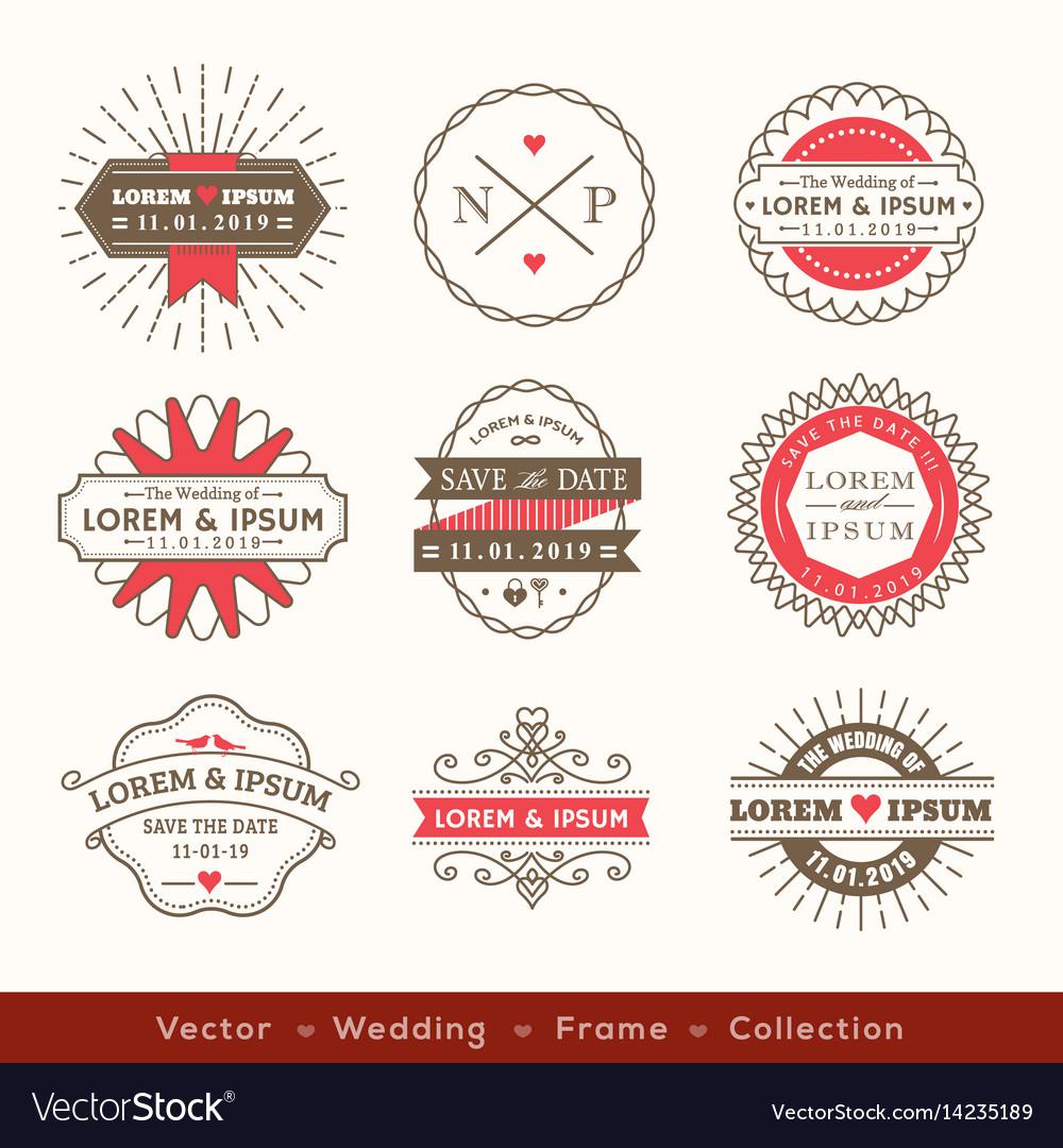 Retro modern hipster wedding logo frame badge