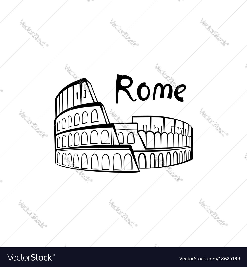 Rome colosseum sign with lettering italian famous