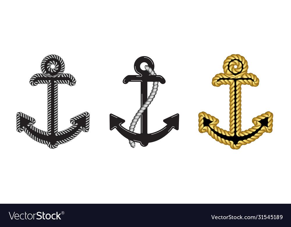 Set three nautical anchor logo icon maritime