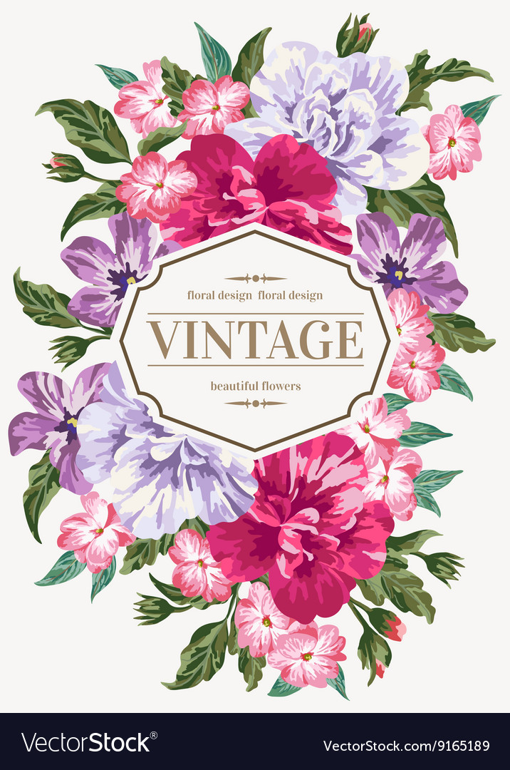 Vintage wedding invitation with colorful flowers