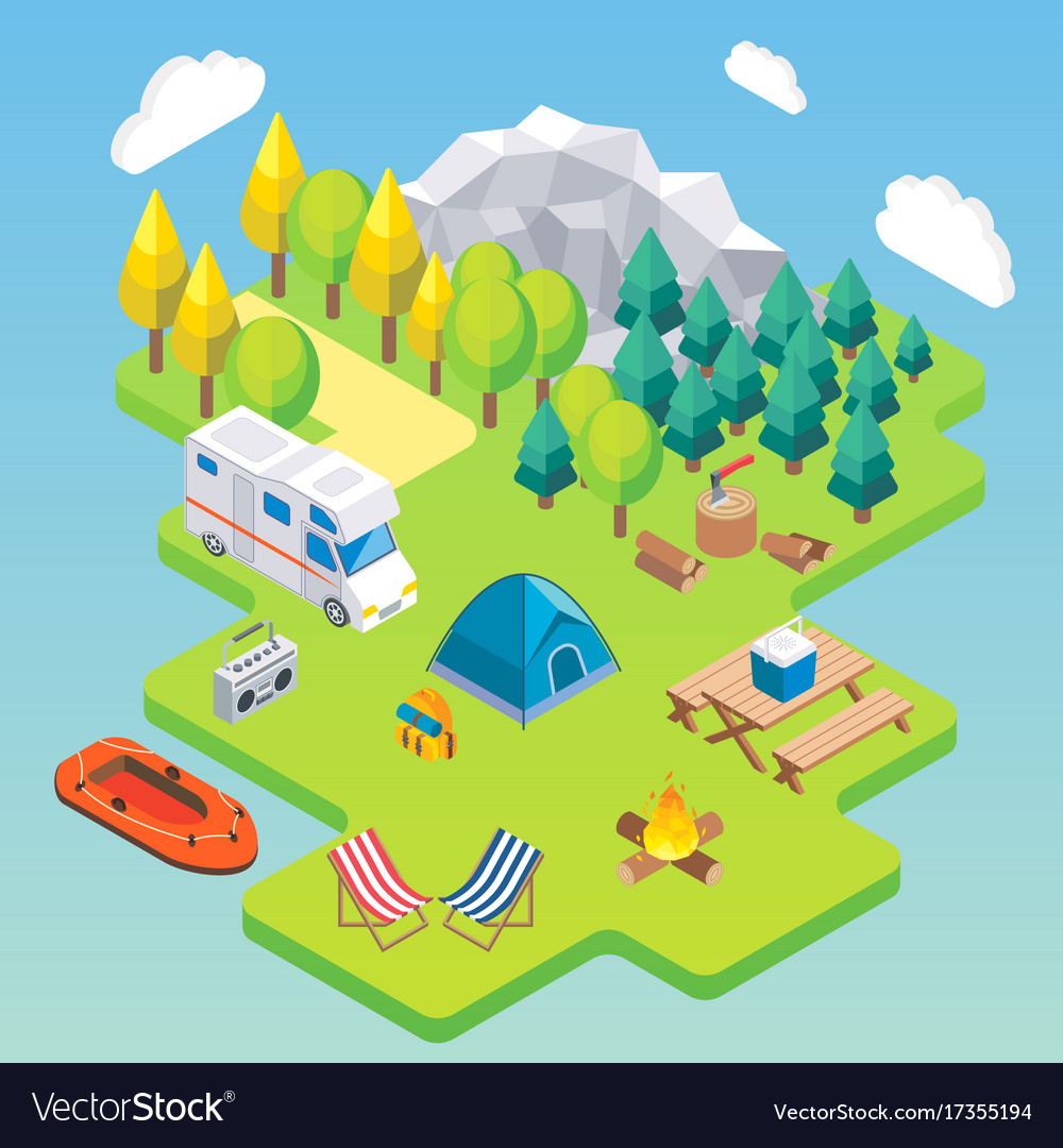 Camping isometric concept in
