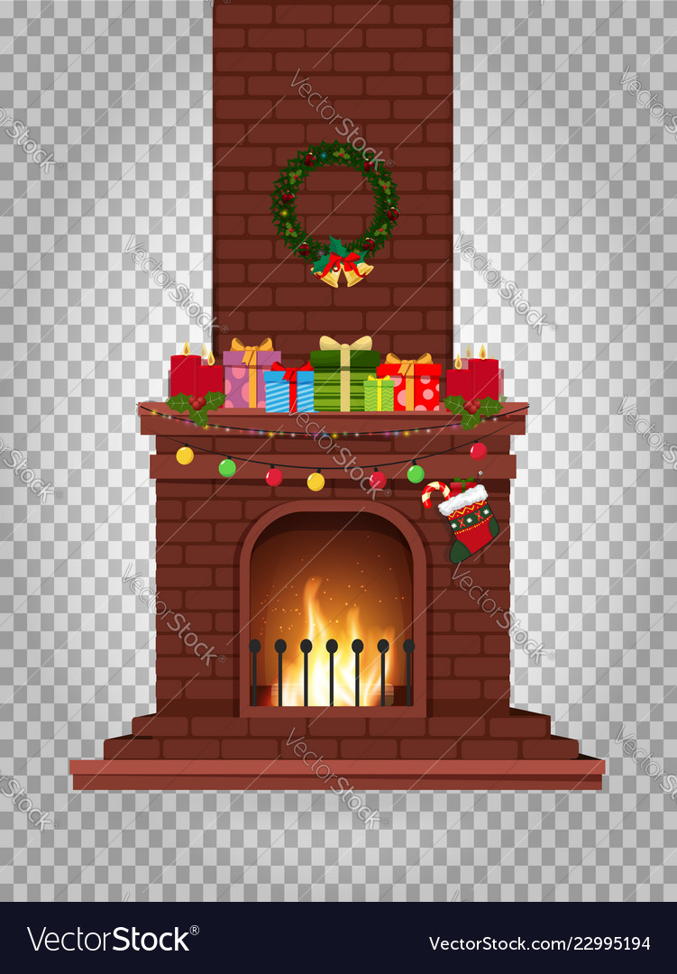 Cartoon decorated burning fireplace with many