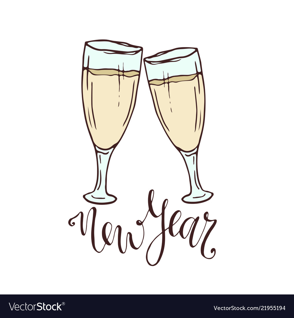 Champagne glasses new year greeting card