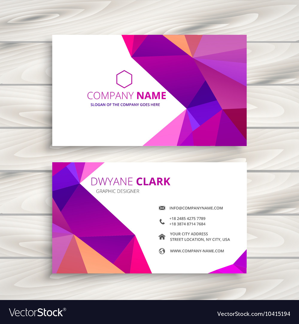 Colorful low poly business card royalty free vector image colorful low poly business card vector image reheart Images