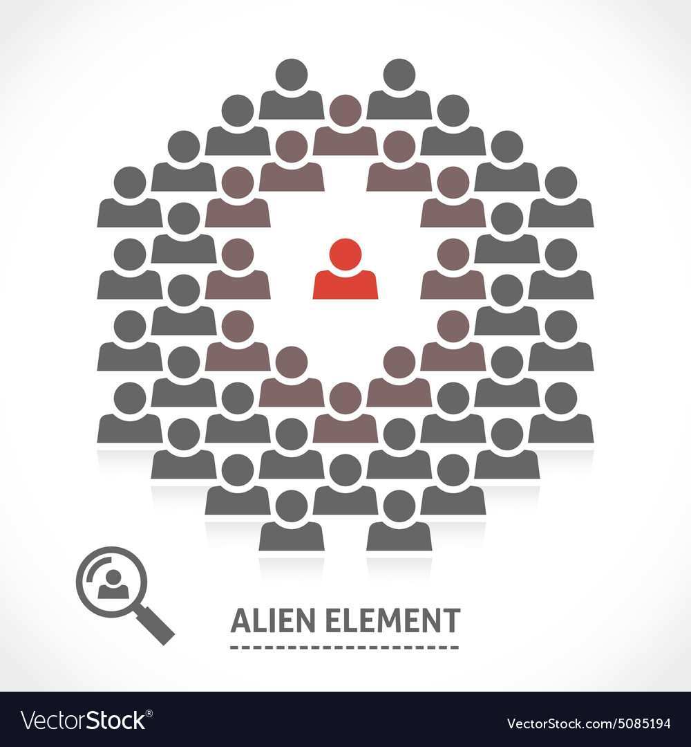 Concept of alien element inside a team vector image