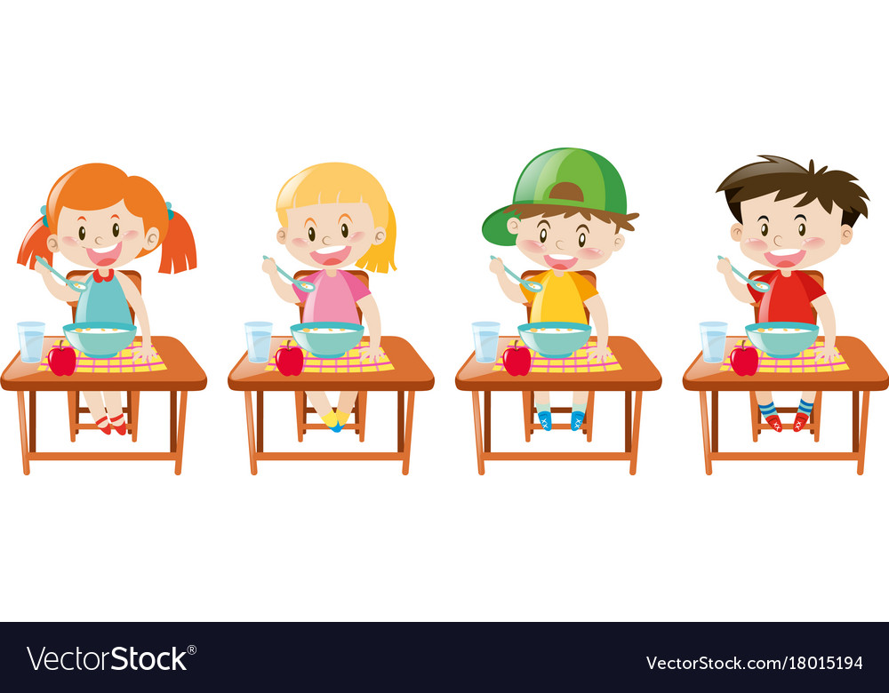 Four little kids having breakfast