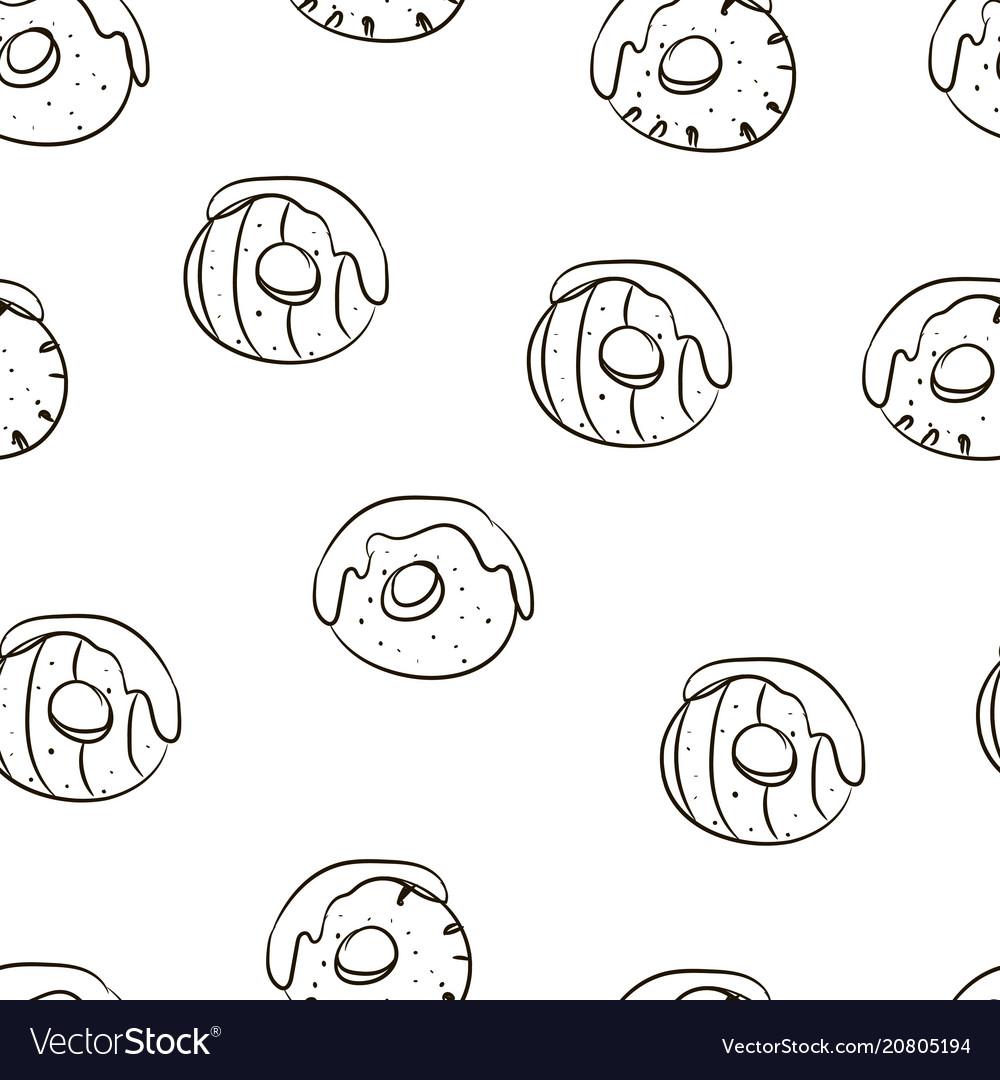 Hand drawing beautiful donuts food pattern
