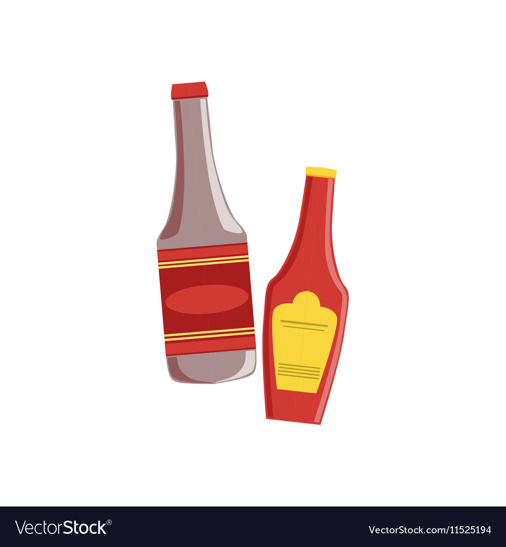 Ketchup And Sauce Set Of Pizza Ingredients