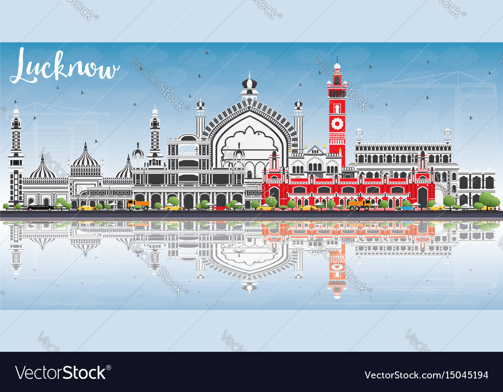 Lucknow skyline with gray buildings blue sky and