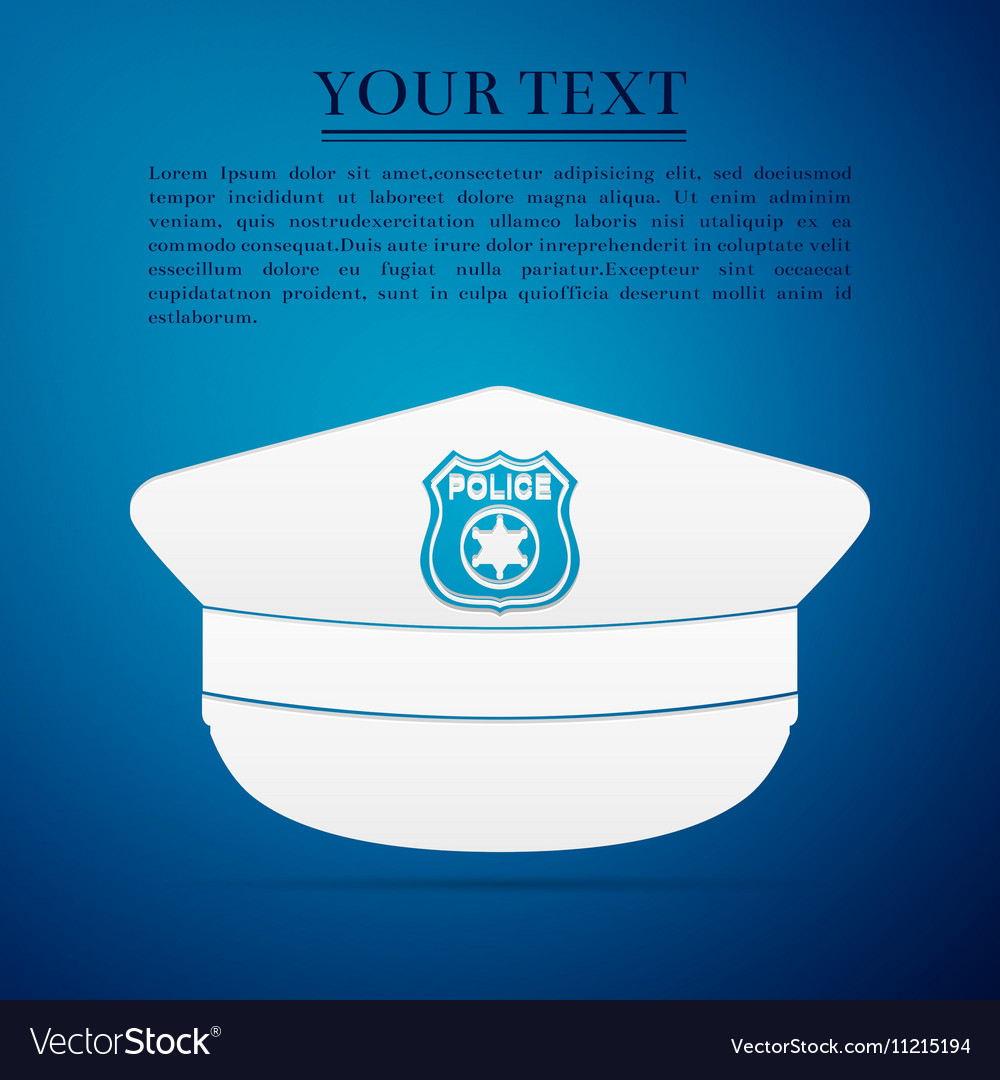 Police cap flat icon on blue background