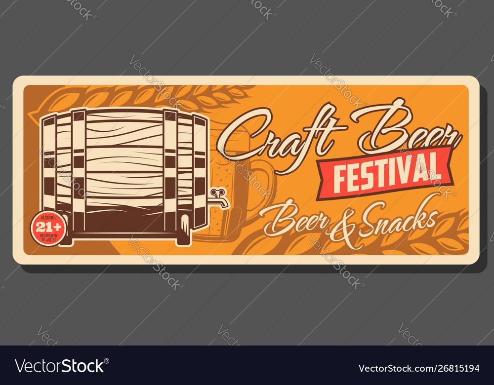 Retro beer wooden barrel craft beer festival