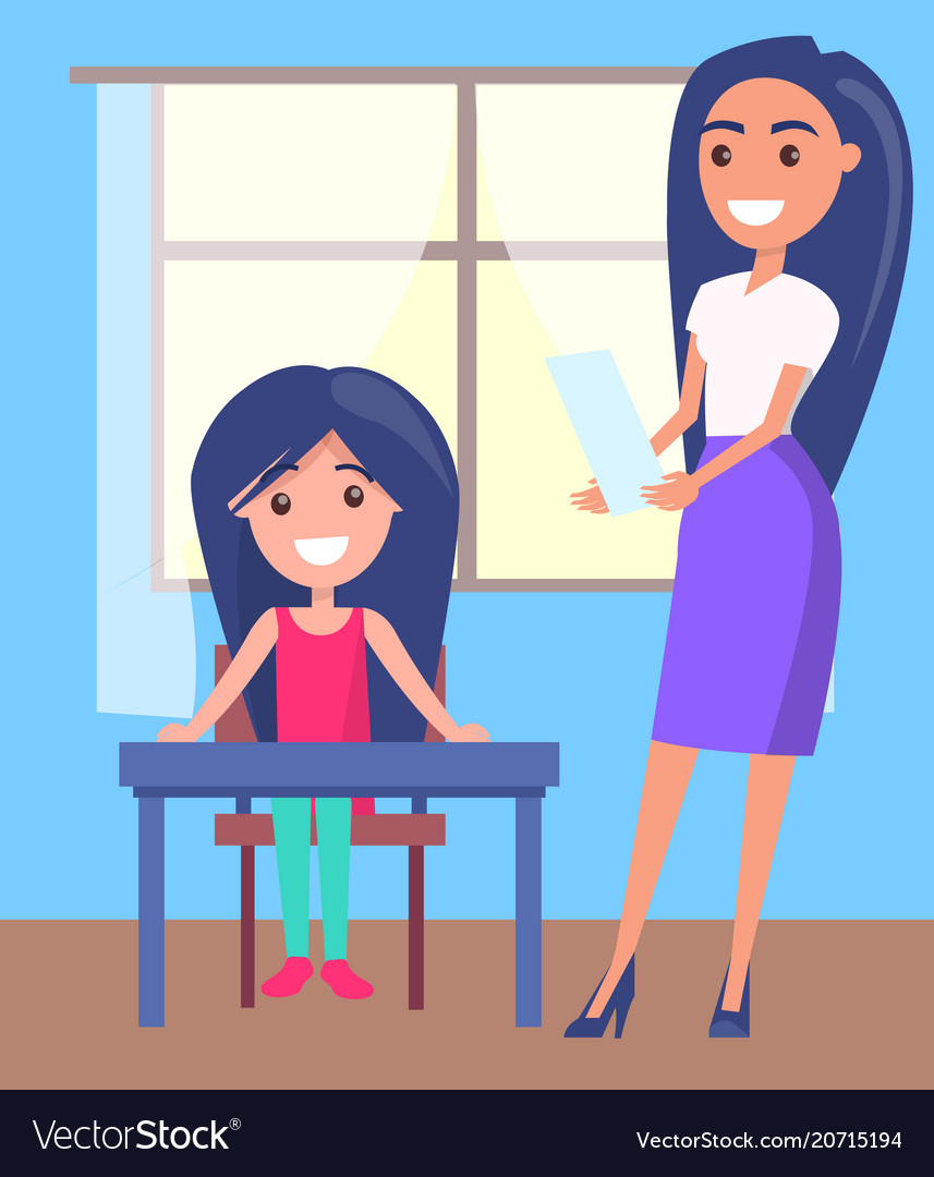 Schoolgirl sitting near window pretty teacher