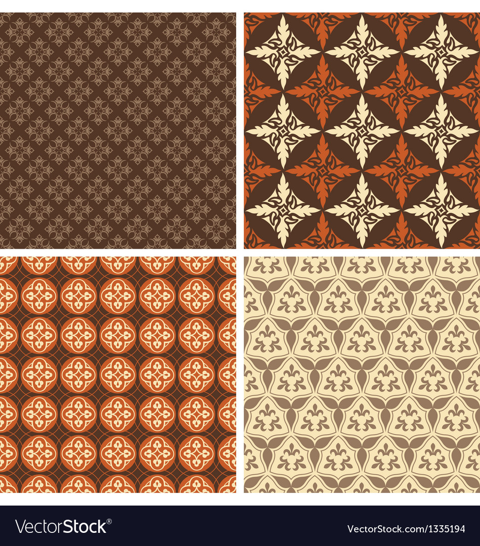 Set of four seamless square patterns