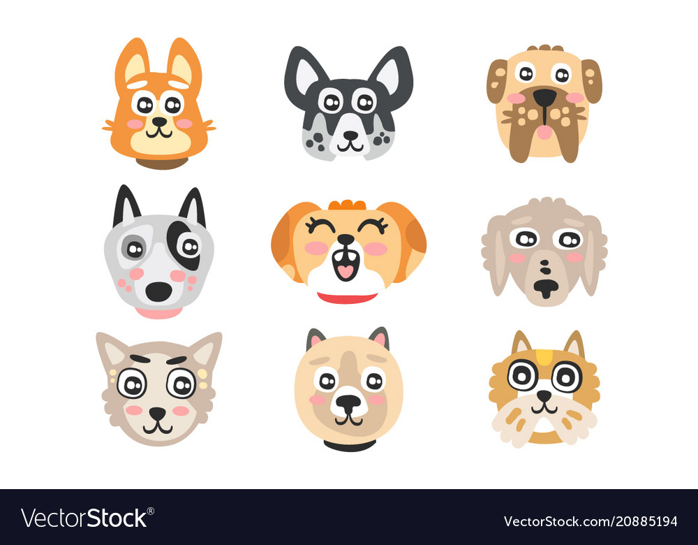 Set of funny cartoon dogs heads dogs of different
