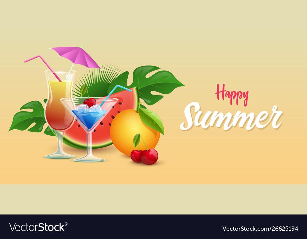 Summer drinks banner template tropical