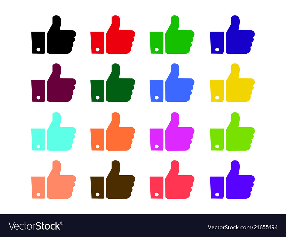 Thumbs up like icons color set for social network