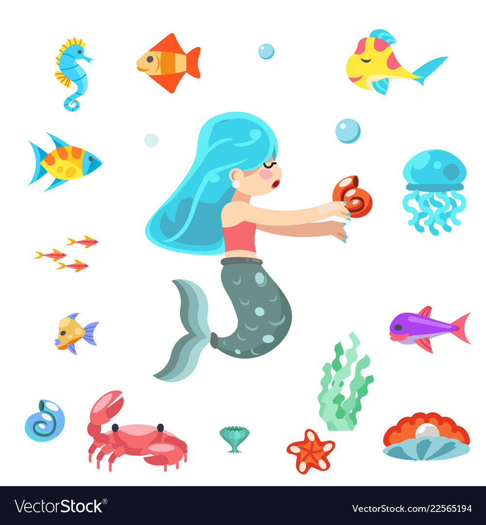 Uder the sea cute little mermaid swimming fishes