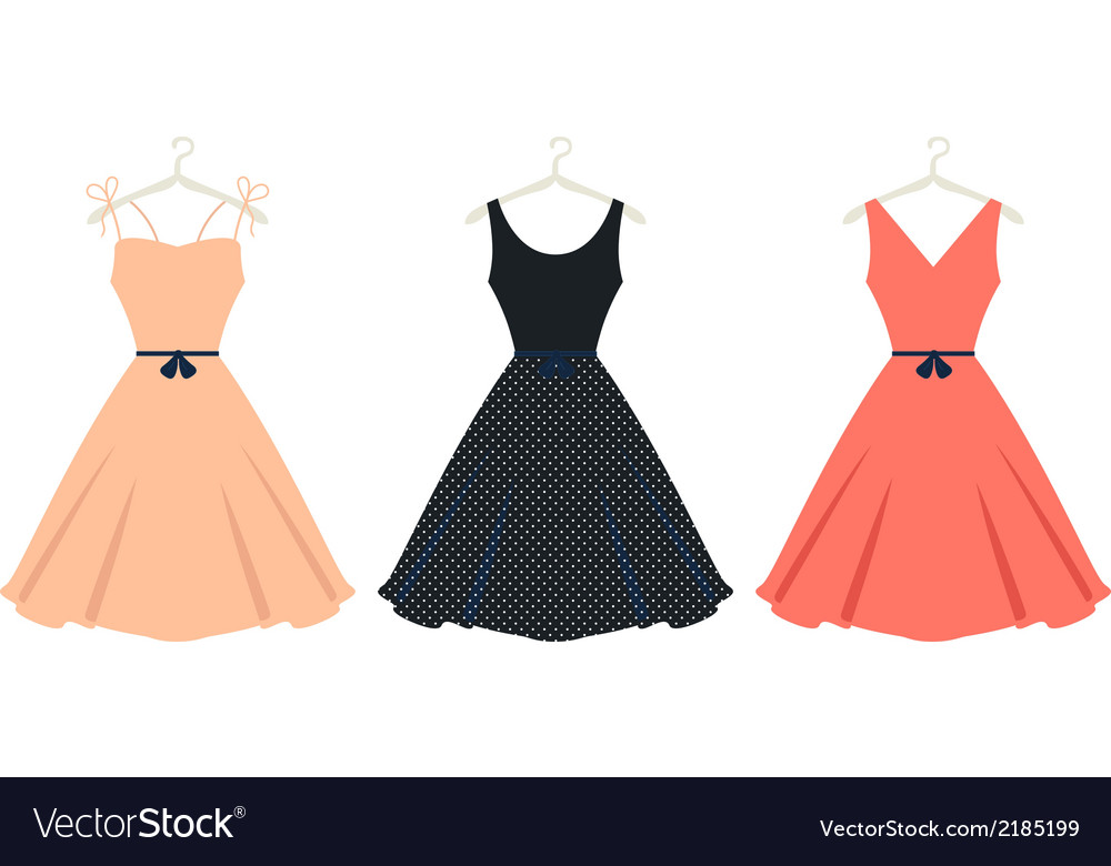 Beautiful retro summer dress set isolated on white vector image