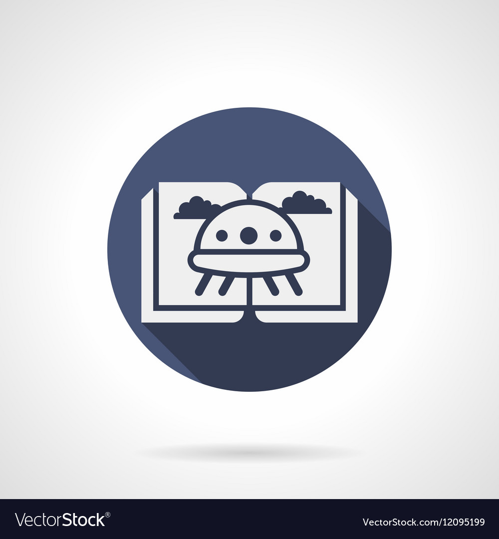 Childrens sci-fi literature blue round icon