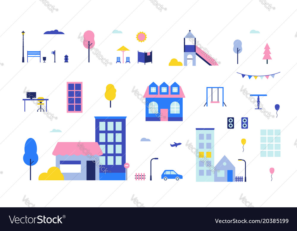 City elements - flat design style set of isolated vector image