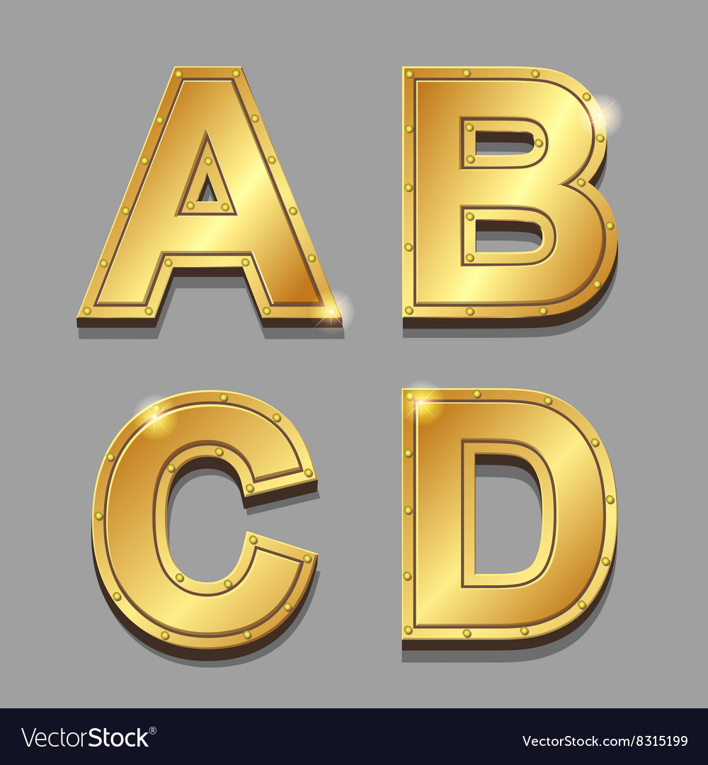 Gold letters alphabet font style A B C D
