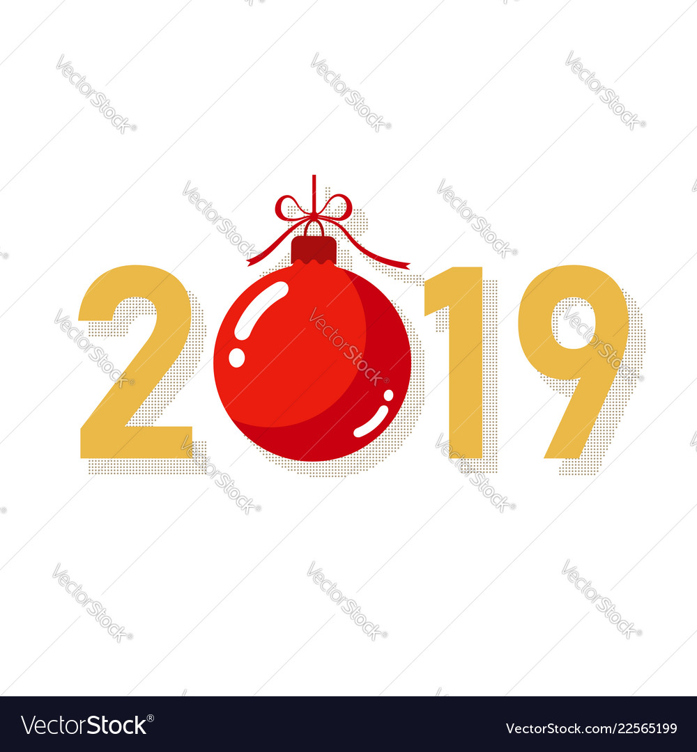 Happe new year gold background isolated 2019