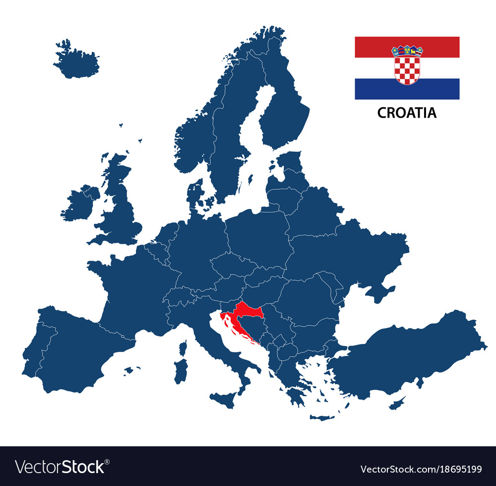 map of europe croatia Map europe with highlighted croatia Royalty Free Vector