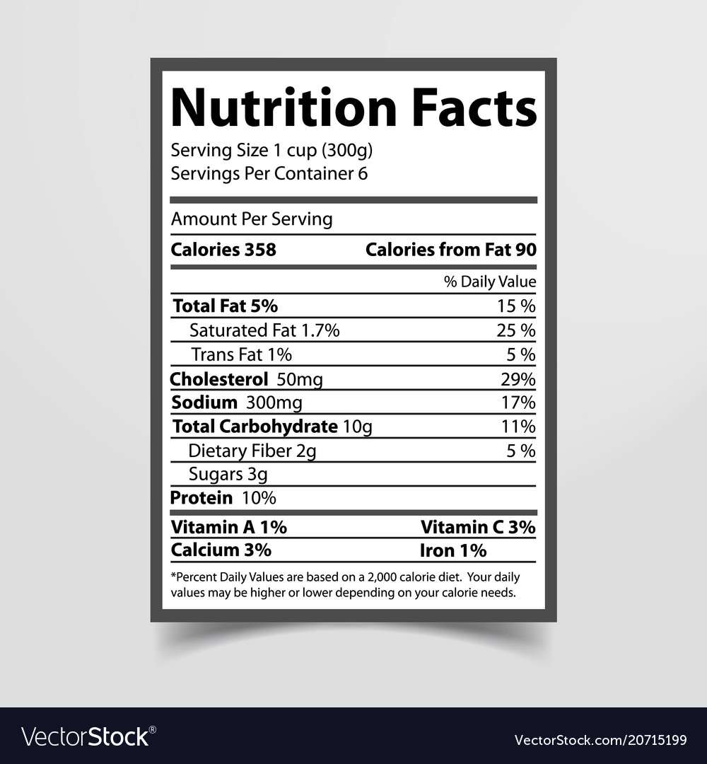 Nutrition facts piece of paper vector image