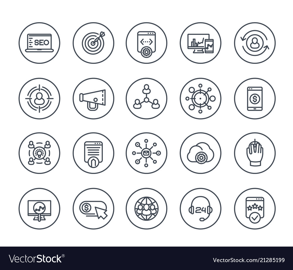 Seo digital marketing website analysis line icons